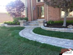 Simple Front Yard Landscaping Ideas for Home in Shelby Twp., MI. Brick Paver Porch and Pillars with Walkway. #frontyardlandscaping #simple  >>> http://jjwbrick.com