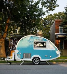 tiny turquoise trailer