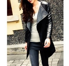 Wholesale Fashionable Style Worsted Turn-Down Collar Color Block Long Sleeves Coat For Women (BLACK,S), Jackets & Coats - Rosewholesale.com