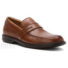 Clarks Bilton Saddle Men's Premium Leather Slip On Shoes Style 26068130 Brown #Clarks #LoafersSlipOns