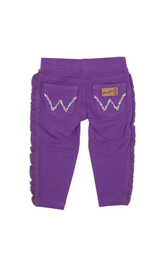Wrangler All Around Baby Girl's Embroidered W Pocket Purple Western Leggings