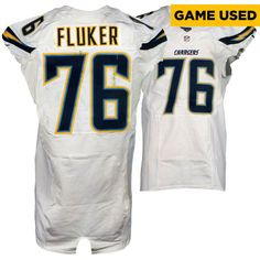 D.J. Fluker San Diego Chargers Fanatics Authentic Game-Used #76 White Jersey vs Denver Broncos On October 30, 2016