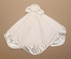 Baby Mexx Ivory Cream Gray Lamb Security Blanket Lovey Baby Toy Satin Corners #BabyMexx