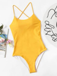 Shop Criss Cross Open Back One Piece Swim online. SheIn offers Criss Cross Open Back One Piece Swim & more to fit your fashionable needs. Backless One Piece Swimsuit, Bathing Suits One Piece, Cute Bathing Suits, One Piece Swimwear, One Piece Swimsuit For Teens, Yellow Swimsuit One Piece, Yellow Bathing Suit, Blue Swimsuit, Yellow One Piece