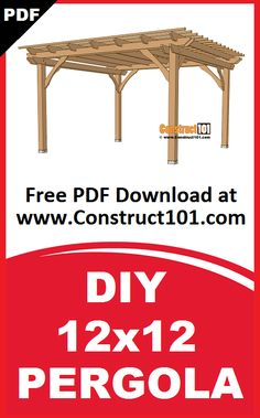 12x12 pergola plans. Build it yourself projects, free PDF download. Includes shopping list, cutting list, drawings, and measurements.