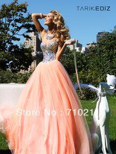 Attractive Straplesss A-line Sweetheart Neck Beaded Tulle Floor Length Orange Prom Dresses 2013 Long ed053
