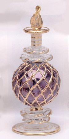 beautiful perfume bottle, hand blown glass