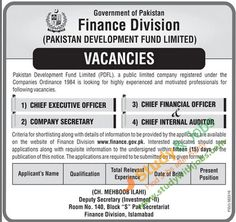 Vacancies in Pakistan Development Fund Limited Government of Pakistan