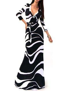 Black Wrap V Neck Stripe Print 3/4 Sleeve Maxi Dress