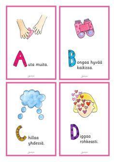 Julisteet - Värinautit Pre School, Children, Kids, Alphabet, Study, Teacher, Feelings, Comics, Pictures