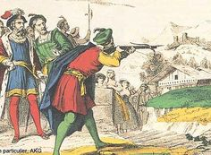 *November According to Swiss legend this is the date on which folk hero William Tell shoots a crossbow bolt through an apple placed on his William Tell, Guillermo Tell, Apple Shots, Crossbow Bolts, Religion, In His Time, 14th Century, Conte, Back In The Day