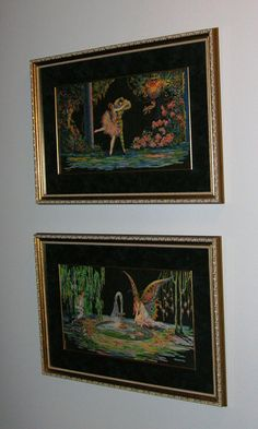 Prints by Tsanya in the hallway between the master bedroom and bathroom:    Top: Cupid's Bower  Bottom: Fountain of Love