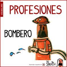 El bombero / La bombero --- Profesiones en español, vocabulario español incial- intermedio