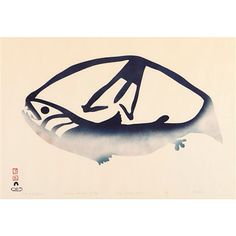 """Fish and Spear"" Pudlo Pudlat (1961) Cape Dorset - skin stencil"