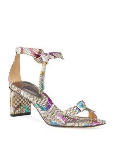Clarita Multicolor Python Knotted Sandals by Alexandre Birman at Neiman Marcus Alexandre Birman, Python, Luxury Branding, Block Heels, Neiman Marcus, Open Toe, Knots, Luxury Fashion, Ankle
