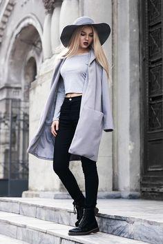 Gray + black high waist pencil pants. ZaZumi.com