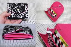 Kleiner Geldbeutel Schwarz-Weiß mit Pink - Anleitung gibt es hier: http://youtu.be/F8TYbZudZyQ
