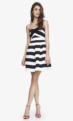 Elastic Stripe Fit And Flare Dress