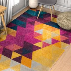 Bunce Mid-Century Modern Geometric Triangle Pink/Yellow Area Rug by Varick Gallery Hippie Style Rooms, Rustic Bedroom Design, Office Space Design, Stain Remover Carpet, Teal And Pink, Dusty Pink, Yellow Area Rugs, Modern Carpet, Dark Carpet