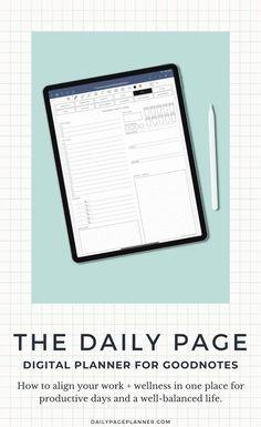 The Daily Page Digital Planner - - Start Planner, Work Planner, 2015 Planner, Project Planner, Planning App, Daily Planning, Beauty Routine Schedule, Schedule Calendar, Planner Organization