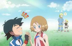Ash y Serena ♥ Pokemon Ash And Serena, Ash Pokemon, Pokemon Stuff, Images Kawaii, Pokemon Couples, Pokemon Pictures, Disney And More, Cute Couples, Cartoon