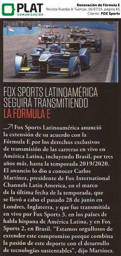FOX Sports: Renovación de acuerdo con Fórmula E en la revista Ruedas & Tuercas de Perú (16/07/15)
