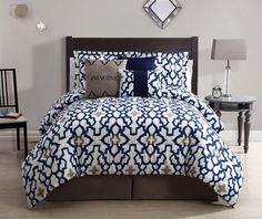 "Size: Queen     Color: Navy/White     100% Polyester     Machine washable  This set includes: 1  Comforter (90""x90"") 2  Shams (20""x26"") 1  Bedskirt(60""x80""+14"") 1  Print Square Cushion (17""x17"") 1  Embroidered Square Cushion (17""x17"") 1  Breakfast Cushion (12""x17"")"
