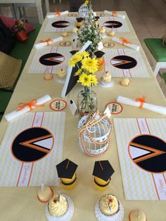 Graduation orange table set by moment to remember