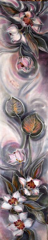 """Купить Шарф Батик """" Пепельные орхидеи"""" - серый, батик шарф, шелковый шарф"""