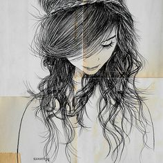 A drawing of self looking down in shame. ANd things behind in life that regret.-Lys  august