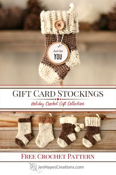Gift Card Stockings What makes gift cards even better? Using Gift Card Stockings to hold them! These easy to make stockings add the perfect touch of handmade charm to any gift! Crochet Christmas Stocking Pattern, Crochet Stocking, Crochet Christmas Decorations, Crochet Christmas Ornaments, Crochet Decoration, Holiday Crochet, Crochet Gifts, Free Crochet, Christmas Ideas