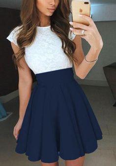 Dark Blue Patchwork Lace Ruffle Short Sleeve Cute Mini Dress