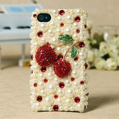 lovely red cherry pearl diamond phone shell mobile phone case for iPhone 3d Iphone Cases, Ipod Cases, Iphone 4s, Uncommon Gifts, Apple Iphone 5, Ipod Touch, Cherry, Bling, Phone Covers