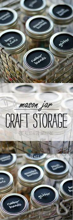 Mason Jar Storage - Craft Storage Ideas with Mason Jars   - Chalkboard Paint @iaswp