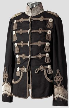 Prussian Hussar tunic, Austrian style, which was adopted by most cavalry regiments from about 1850 and onwards, until the heavily braided tunics and pelisses were brought back for ceremonial purpose. These were worn in combat right up until WWI, Hermann Historica.
