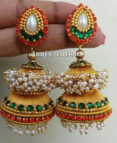 Silk Thread Earrings Designs, Thread Jewellery, Jewellery Diy, Jewelry Making, Silk Thread Jumkas, Thread Art, Indian Wedding Jewelry, Designer Earrings, Making Ideas