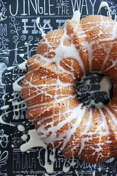 Eggnog Bundt Cake with Eggnog Sugar Glaze  {A Pretty Life}