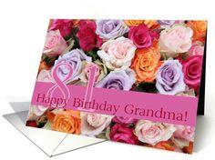81st birthday Grandma, colorful rose bouquet card