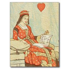 Vintage Queen of Hearts Painting Post Card