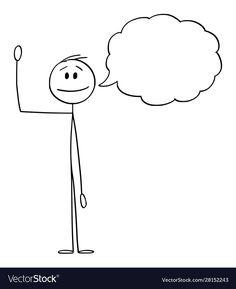 Cartoon man or businessman waving his hand and Vector Image , Stick Figure Animation, Stick Figure Drawing, Cartoon Crazy, Cartoon Man, Fish Drawings, Cartoon Drawings, Speech Balloon, Text Bubble, Bullet Journal Banner