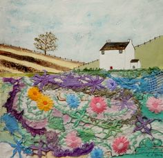''Tales of a cottage garden'' Free Motion Embroidery, Hand Embroidery, Collage Book, Fabric Journals, Textiles, Detail Art, Textile Artists, Fabric Art, Fiber Art