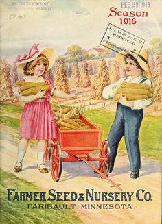 089-Boy, Girl with cart of Corns, Field      ...