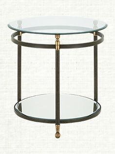 """Charlotte 26"""" Round Glass End Table With Iron Base"""