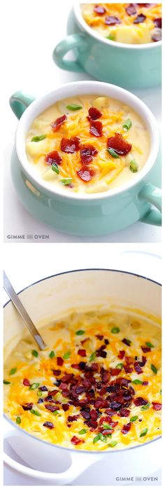 Potato Soup -- classic, thick, creamy, and super delicious!  Plus, it's made a little bit lighter with milk instead of heavy cream.   gimmesomeoven.com