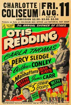 Music Memorabilia:Posters, Otis Redding Charlotte Coliseum Concert Poster (APO Shows . Delta Blues, Rock Posters, Band Posters, Vintage Concert Posters, Vintage Posters, Vintage Graphic, Soul Music, Sound Of Music, Jazz Music