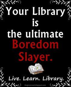 """Tu #biblioteca es la cazadora de aburrimiento definitiva ;)"" Library Humor, Library Quotes, Library Posters, Library Books, Local Library, Library Signs, Library Card, I Love Books, Good Books"