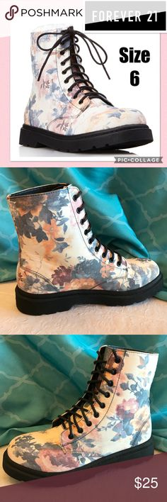 F21 Floral Frenzy Combat Boots Size 6 Worn only once. Forever 21 Shoes Combat & Moto Boots