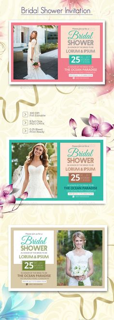Buy Bridal Shower Invitation by posanlab on GraphicRiver. Bridal Shower Invitation Specifications: 3 Color PSD File included Help file included Size with include bleeds Bridal Tea Invitations, Creative Wedding Invitations, Printable Wedding Invitations, Wedding Invitation Design, Bridal Shower Cards, Wedding Templates, Wedding Cards, Celebration, Organization