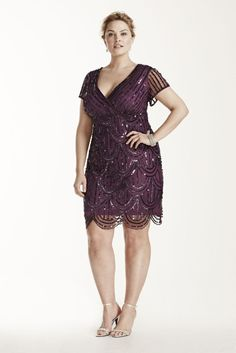 Cap Sleeve Short Mesh Dress with All Over Sequins Style 290560I