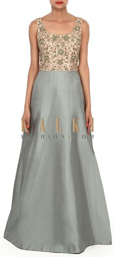 Buy Online from the link below. We ship worldwide (Free Shipping over US$100) Price-$539 Click Anywhere to Tag http://www.kalkifashion.com/grey-green-gown-featuring-in-silk-its-embellished-in-thread-and-zardosi-embroidery-only-on-kalki.html